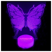 3D Illusion LED Night Light Butterfly without battery(China)