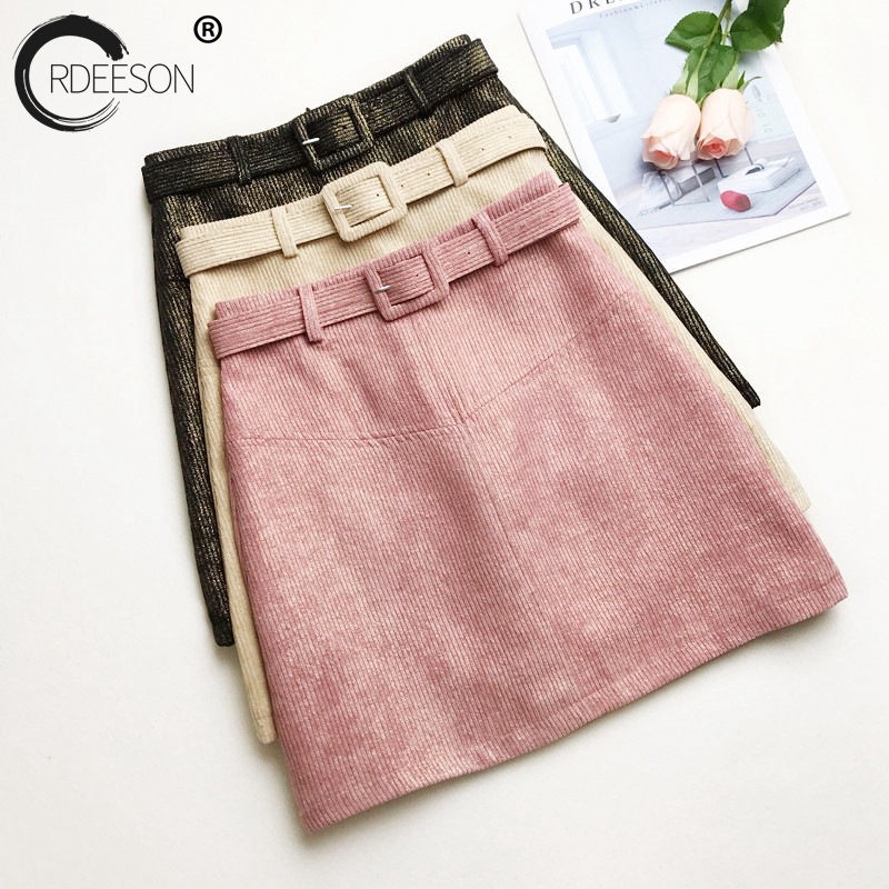 ORDEESON Black Sexy Vintage Corduroy Skirt Skirts Mini Skirt Women Womens Clothing Korean Style High Waist Summer 2018 Line