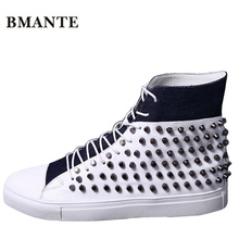 Real leather Casual brand rock white male boot high top studded shoe hightop Footwear street style Tenis chaussur Bootie for men