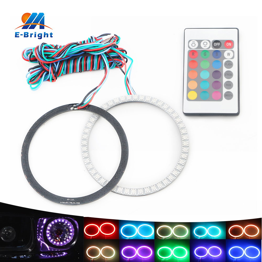 70mm LED Angel Eyes Headlight 12V RGB Rings With Remote Controller e39 e46 e36 e90 e39 5050 SMD Car LED Halo Accent Light Kit<br>