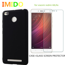 IMIDO 2PCS/set For Xiaomi Redmi 4A 4Pro 4X redmi note3/4/2  Soft TPU Frosted Ultra Thin Back Cover Case + Screen protector Glass