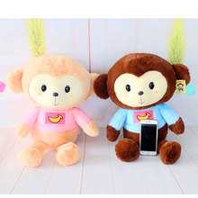 1 Pair 45CM Kawaii Cartoon Monkey Dolls Soft Plush Toys Stuffed Coral Velvet Toy For Children Kids Presents Valentines Gifts(China)