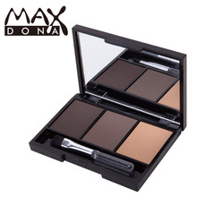 MAXDONA Eyebrow Enhancer Professional Eye Brow Makeup 3 Color Eyebrow Powder Eye Shadow Eyebrow Bare makeup Palette Set Kit
