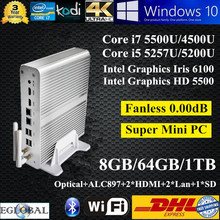 3 Years Warranty Broadwell Mini PC i7 8GB Ram 64GB SSD 1TB HDD Intel Core i7 5500U i5 5257U Graphics Iris 6100 Mini Nuc Thin PC