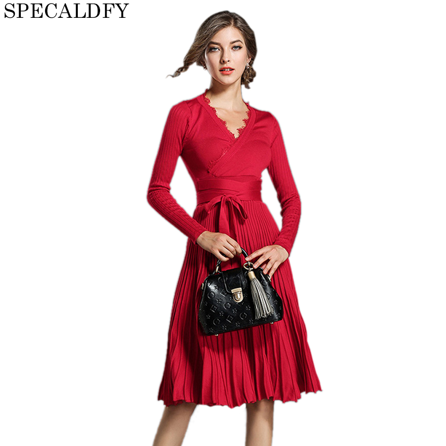 2018 High Quality Autumn Winter Dresses Women V-Neck Long Sleeve Slim Knitted Sweater Dress Pleated Party Dresses Vestidos MujerÎäåæäà è àêñåññóàðû<br><br>