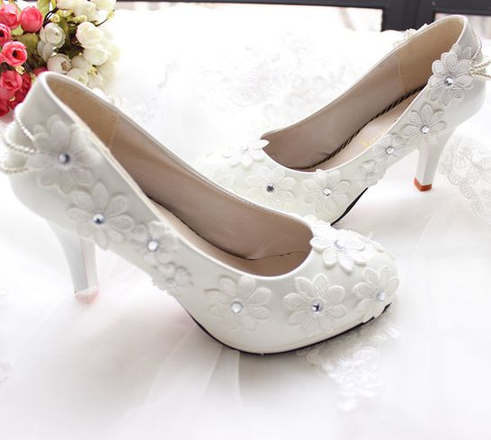 Plus sizes hand made sweet wedding shoes white for women lace flowers beading pearls woman ladies party pumps TG217 on sales<br>