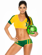 Fantasy Football Costumes New 2017 Fashion Soccer Baby  Girl Sexy Short Football Costume V-neck Cheerleaders Team Sets C8888