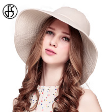 FS Summer Large Wide Brim Beach Sun Hats For Women Foldable Floppy Visor Cap Ladies Casual Outdoor Hat(China)