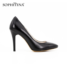 SOPHITINA Handmade Black Thin heel Pumps Sheepskin Kid Suede Super High Heels Pointed Toe Leather Office Ladies Shoes Women D45(China)