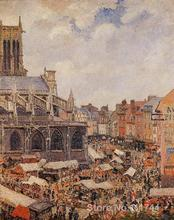 Landscape paintings The Market Surrounding the Church of Saint Jacques Dieppe by Camille Pissarro art High quality Hand painted