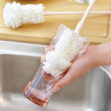White Long Handle PP Sponge Wash Cup Brush Baby Milk Bottle Brush Easy To Clean Drawing Bottle Glass Cup Bottom EZLIFE JK0032