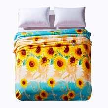 Cozzy Yellow Sunflower Plush Velvet Fleece Blanket on Bed Sofa Couch Air Condition Travel Throw Blankets with Blue Brim 4 Sizes