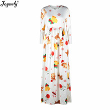 Joyonly 2018 New Fashion Women Model Dresses 3D Christmas Gift Bell Bear Snow Printed White Casual Ladies Maxi Dress Vestidos(China)