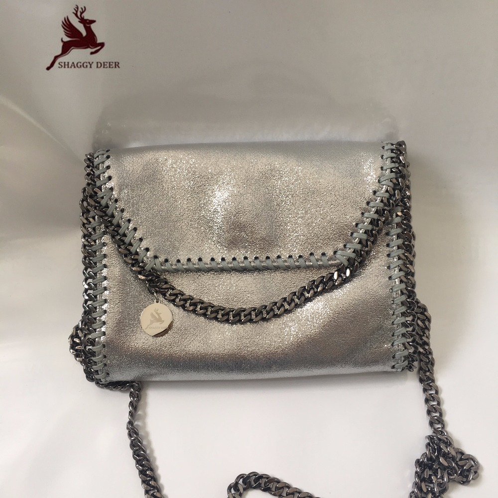 2017 Luxury Shaggy Deer Brand Sliver PVC Small Flap Chain Bag Fala Classical Mini Pocket Crossbody Shoulder Bag<br>