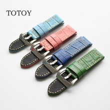 TOTOY Crocodile Pattern Calfskin Watchban, 22MM 24MM 26MM Retro Style Strap, Blue / Green / Red Men Models Strap, Fast Delivery