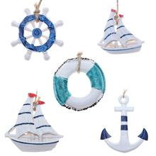 Mediterranean Theme Wall Pendant Mini Sailboat Rudder Anchor Swim Ring Marine Life Wall Decor Pendant Home Decoration Supplies(China)