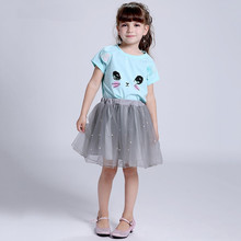Cartoon Girl Dress 2017 New Summer Casual Style Cartoon Kitten Printed T-Shirts+Net Veil Set Dress 2Pcs For Girls Clothing 2-8Y(China)
