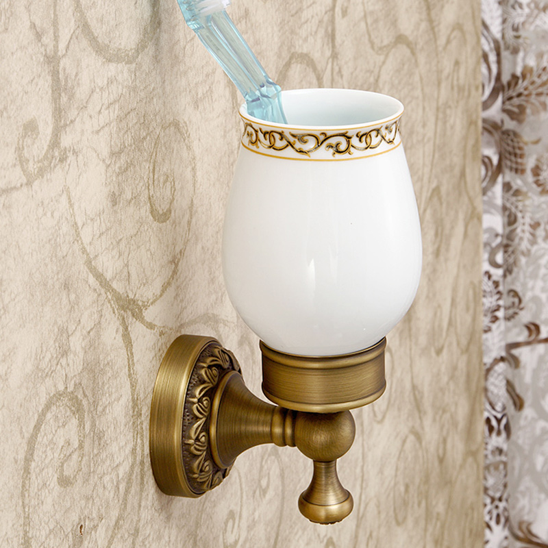 Antique Brass Bath Wall Mount Carved Flower Single Cup Toothbrush Holder<br>