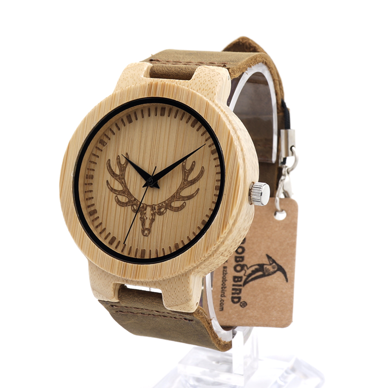 BOBOBIRD D15 Mens Design Brand Luxury Bamboo Watches Deer Head Patteer Dial Face With Real Leather Quartz Watch Men in Gift Box<br><br>Aliexpress