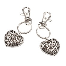 Valentines Day Gifts Tibetan Style Heart Keychain, with Iron Key Clasp Findings and Alloy Swivel Clasps, Antique Silver, 95mm