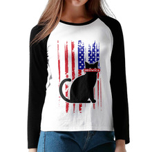 Women Patriot day Meet the most America Patriot Cat New Long Sleeve O-Neck baseball jerseys T Shirt raglan shirts tees for Lady(China)