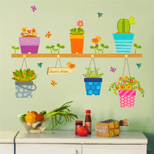 DIY Wall Stickers Home Decor Potted Flower Pot Window Glass Wall Decals Removable Bonsai Birds Butterfly Mural Poster Decor(China)