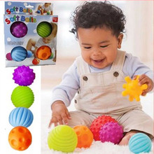 4Pcs/Set Baby Ball Toys Souding Colorful Child touch hand ball toy baby Learning Grasping soft ball Kids Gift 7cm(China)