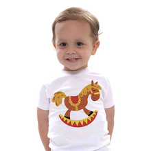 New baby fashion clothes Trojan Horse novelty funny infant shirt short sleeve child cotton cute animal t shirt(China)