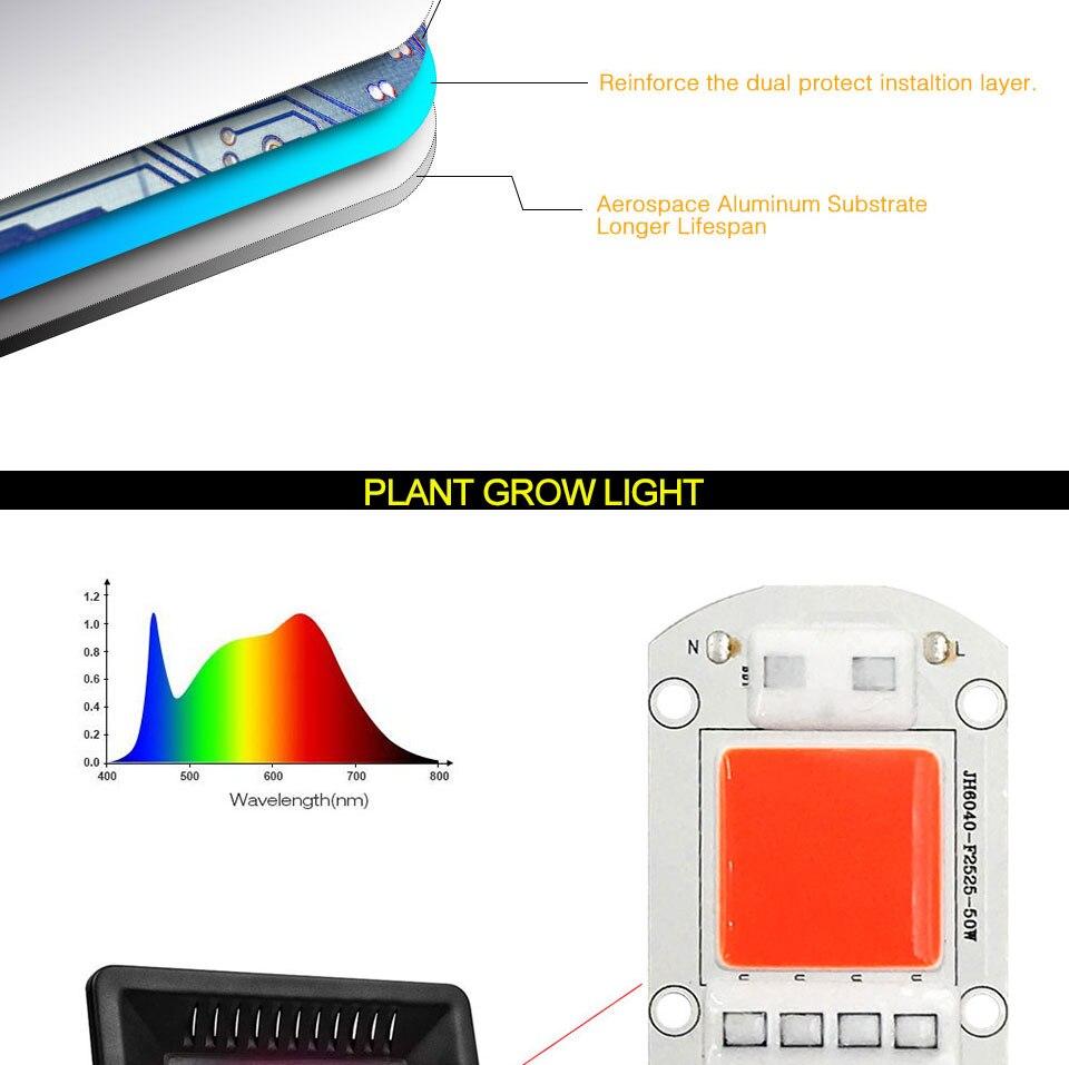 AC 110V 220V LED COB Lamp Chip 20W 30W 50W 100W 150W Full Spectrum LED Plant Grow Light Driverless Smart IC DIY LED Floodlights (15)