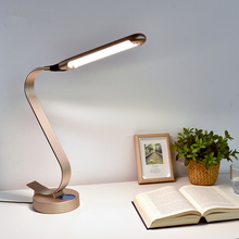 High Power LED Desk Lamp 15W Slide Touch Dimming Swan Metal Table Lamp 6-level Brightness 6 Color Temperature Double Light Panel
