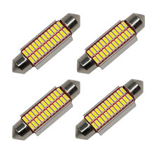 4PCS High Quality 31/36/39/42mm C5W C10W Super Bright 4014 SMD Car LED Festoon Light Canbus Error Free Interior Dome Lamp White(China)