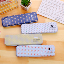 Cute Geometric Patterns And Animals Tin Pencil Case Stationery Storage Box School Office Supply Escolar Papelaria