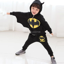 New Kids Cosplay Halloween Costume 2016 winter children's clothing suits Cartoon batman costume children Black suit boys clothes(China)