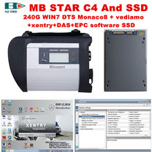 Multi-language car diagnostic tool sd c4 mb star c4 + 2017 05 DTS Monaco8+vediamo+xentry+DAS+EPC software SSD for Mercedes Benz