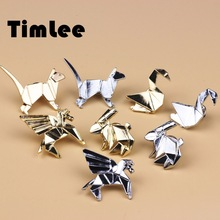 Timlee X014  Free shipping Solid Geometry Metal Cat Rabbit Horse Bird Brooch Pins,Fashion Jewelry Wholesale
