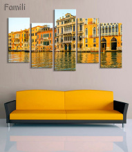 5Panel  Modern Canvas Painting Wall Art Italy Venice Landscape Oil Painting Beautiful City River Decorative Picture Home Decor