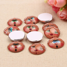 50pcs/lot Mixed Ginger Smiley Photo Round dome handmade glass cabochon 12mm diy earrings hair clips accessories