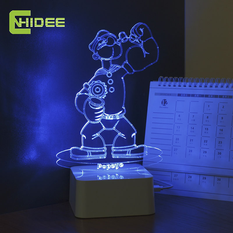 CNHHIDEE USB Novelty 3d LED Night Lamp Popeye Figure Shaped Dimmable Touch Desk NightLights as Home Decor Table Lampara<br><br>Aliexpress