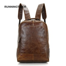 RUNNINGTIGER cow leather man backpack 100% genuine leather man bag high quality men schoolbags space men travel Laptop bag
