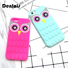 Hot Silicone Cartoon 3D Owl Coque Soft Phone Cases Cover For iPhone 7 7Plus 5 5s 6 6s Plus 6sPlus Cases Housing Back Shell Capa(China)