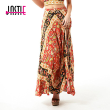 Jastie Boho Gypsy Style Long Skirt Vintage Geometric Pattern Print Split Skirt Women Summer Beach Maxi Skirts Chic Female Faldas
