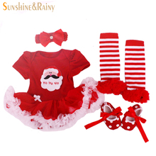 Christmas Gifts,Newborn Baby Costumes,Kids Romper Girls tutu Dress+Headband+Colorful Socks+Shoes Set Toddler Clothes Sets