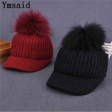Ymsaid 2017 New Raccoon Hair Ball Curling Hat Hat Knitted Baseball Cap Ladies Cap Wholesale Hot Women's Wool Hat