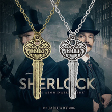 Hot Sherlock 221b Apartment Keys Necklaces & Pendants Vintage Key Shape Necklace For Men Jewelry Drop Shipping