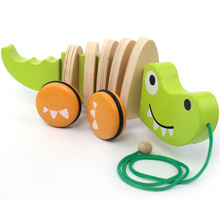 crocodile puppy cart Children Crooked Toys tractor Wooden baby Hand Early childhood educational ideas Birthday Christmas gift(China)
