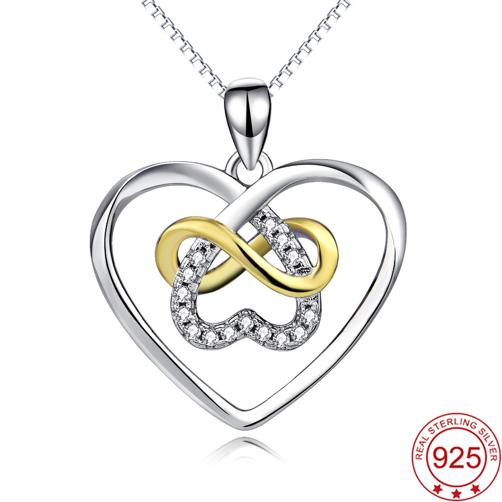 YFN Genuine 925 Sterling Silver Infinity Love Cross Love Heart Crystal CZ Hollow Pendant Necklace Fashion Gift For Women(China (Mainland))