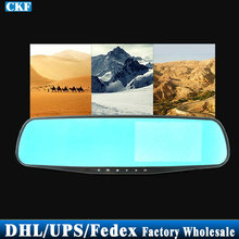 DHL/Fedex/UPS 25pcs/lot L9000 4.3 inch Rearview Mirror 2248 Hd Wide-angle Lens Blue Double Vision Tachograph Parking Monitoring(China)