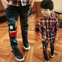 2016 Spring new fashion patchwork boys jeans high quality good material children jean age 3 4 5 6 7 8 9 10 11 12 years old  B022