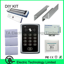 Single door standalone F007 125KHZ RFID card access control kit  with magnetic lock power supply  ZL bracket exit button ID card