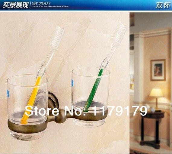 Copper antique  bathroom cup &amp; tumbler holder,antique double  toothbrush holder  bathroom accessories A72382<br>
